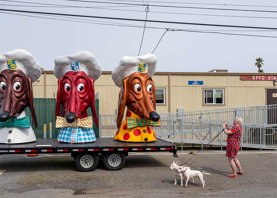 Doggy-Diner-Heads,-Treasure Island, San Francisco Bay. 2019. From the series Public Spaces by Michael P Martin.