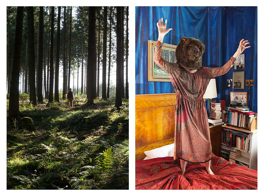 Bear Girl in forest & Bear Girl in bedroom from the series Bear Girls by Ute Behrend