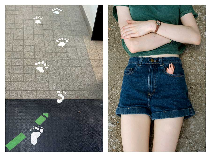 Footprints and Paw prints & Little plastic hand from the series Bear Girls by Ute Behrend